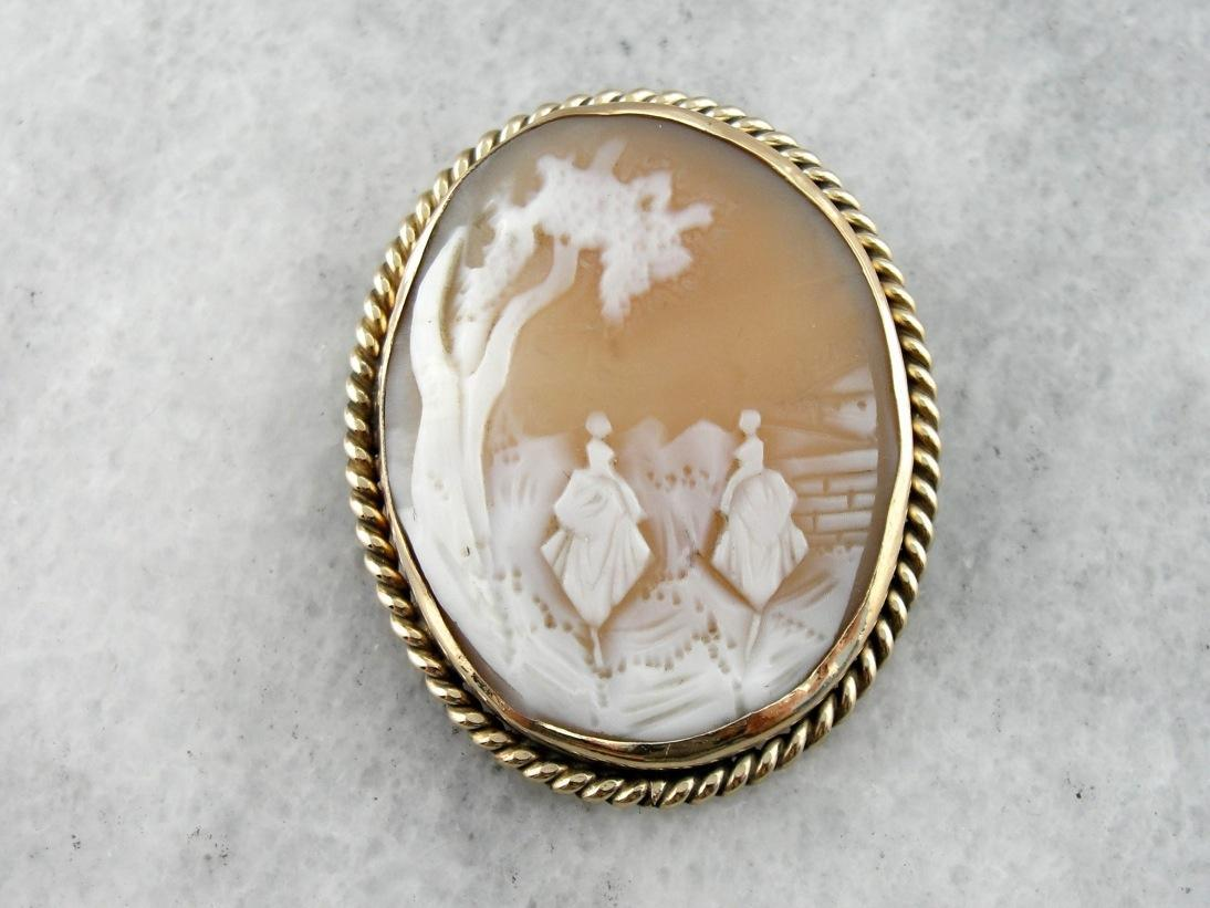 Rebecca by the well ladies two figures vintage cameo pendant or broo rebecca by the well ladies two figures vintage cameo pendant or brooch mozeypictures Choice Image
