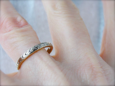 Lovely Engraved White Gold Wedding Band