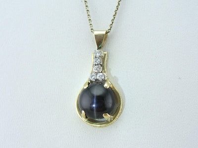 Cat's Eye Sillimanite and Diamond Pendant