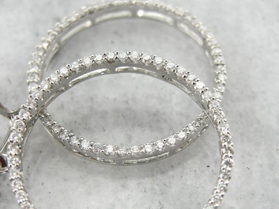 Sparkling Diamond Hoop Earrings in Bright White Gold