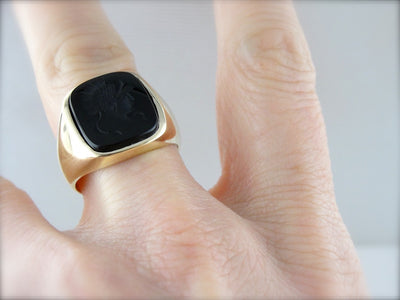Classic Black Onyx Intaglio in Polished Yellow Gold