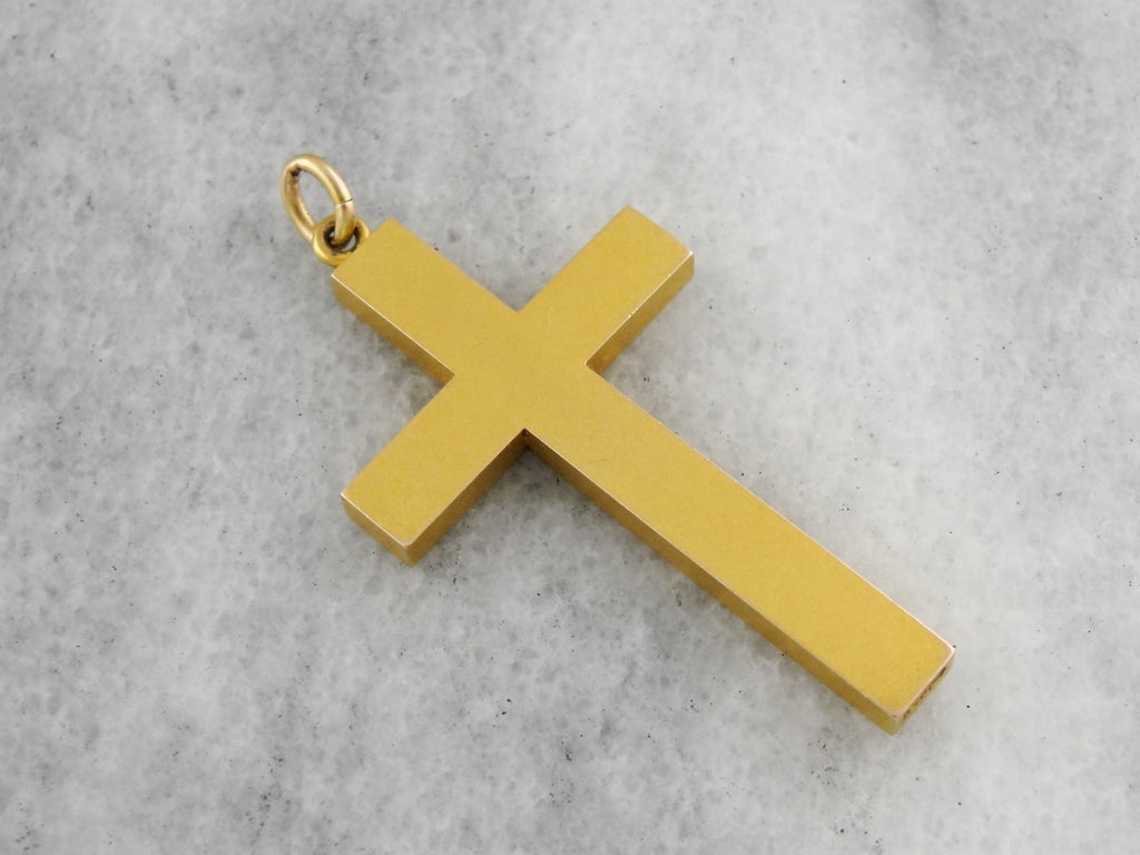 Antique Engraved 1921 Yellow Gold Cross