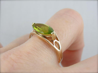 Cat's Eye Cut: Peridot Cocktail Ring in East West Setting