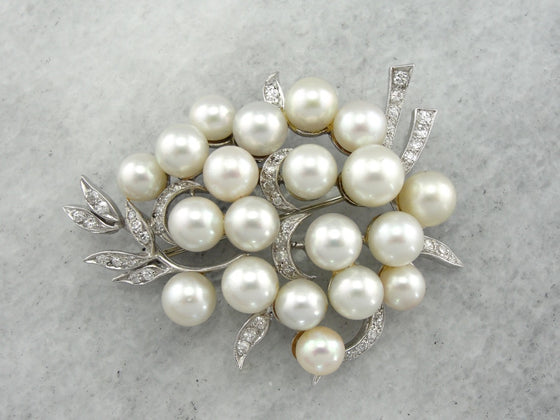 Stunning Retro Era Diamond and Pearl Brooch of Exceptional Quality