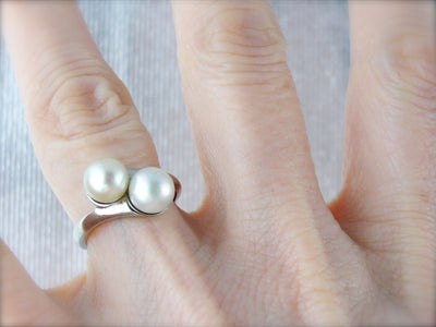 Timeless Pearl Bypass Ring, Double Pearl Cocktail Ring