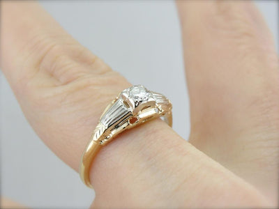 Streamlined Retro Design Diamond Engagement Ring