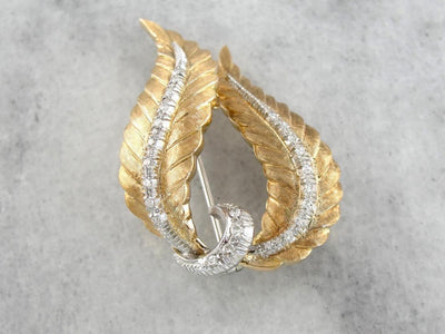 In Flames: Diamond Encrusted Vintage Feather Brooch
