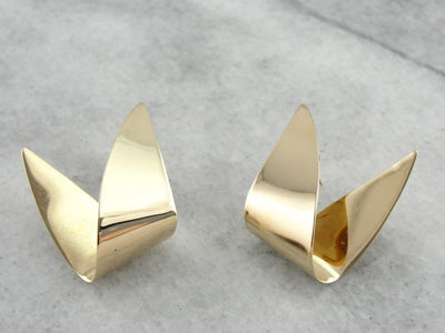 Futuristic and Funky, Yellow Gold Modernist Earrings