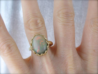 Smoky Ethiopian Opal and Sensual Vintage Gold Cocktail Ring