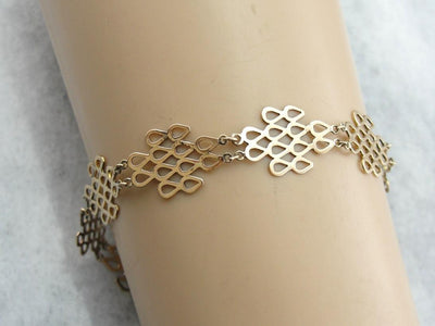 Vintage 1960's to 1970's Era GOld Bracelet, Modernist Style