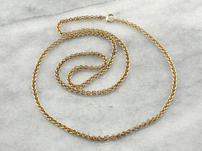 Long Vintage Yellow Gold Pendant Chain, Victorian Revival