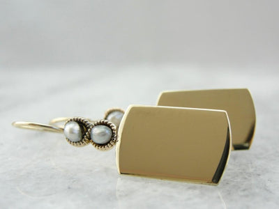 A Subtle Infinity - Seed Pearl and Polished Gold Drop Earrings