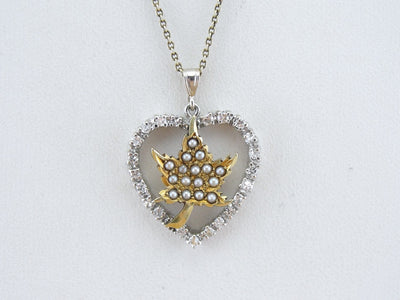 Little Maple Leaf and Diamond Heart Pendant
