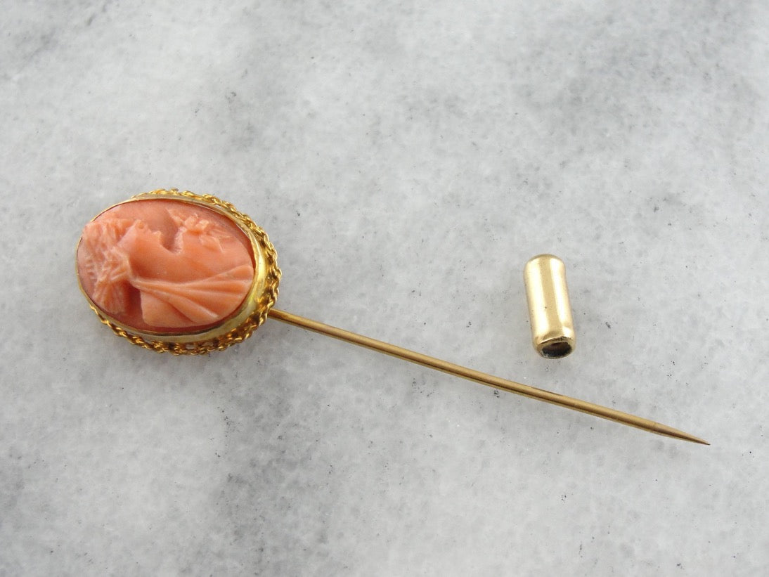 Vintage 14k Yellow Gold Round Flower Carved Cameo /& Twisted Wire Frame Stick Pin