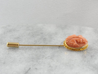 Antique Carved Coral Cameo Stick Pin in Yellow Gold
