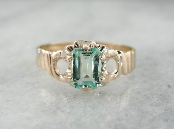 Victorian Era Pale Green Emerald Solitaire Ring, Antique Ladies Ring
