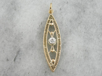 Simple Filigree Pendant with Round Diamond Center, Art Deco Lavalier Necklace, Pin Conversion