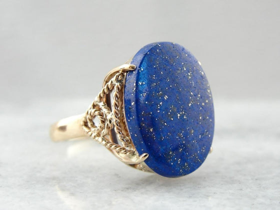 Gold Flecked Lapis Lazuli Cocktail Ring