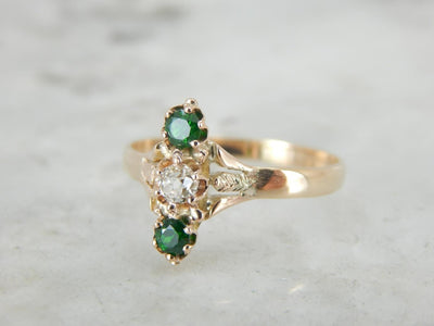 Green Demantoid Garnet and Diamond Ring