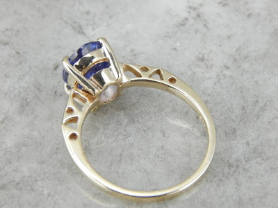 Bright Tanzanite and Gold Ladies Cocktail Ring