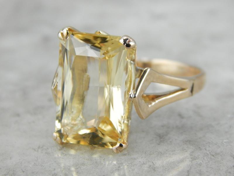 Vintage Yellow Gold and Scapolite Cocktail Ring