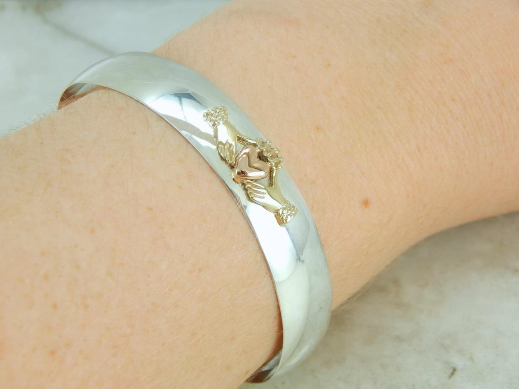 Claddagh Cuff Bracelet in Silver and Gold