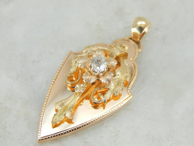 An Art Nouveau Pendant with Old Mine Cut Diamond