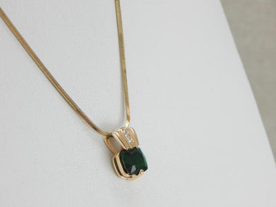 Rare Chrome Tourmaline set in a Modernist Diamond Pendant