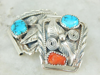 Native American Turquoise and Coral Watch Tips in Silver