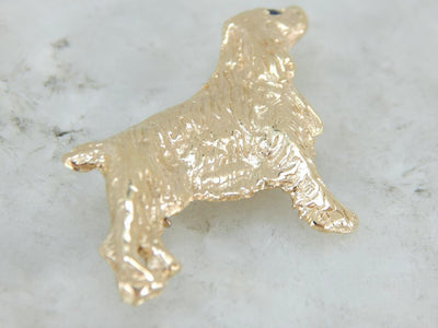 Detailed Show Dog Brooch with Sapphire Accent in Yellow Gold