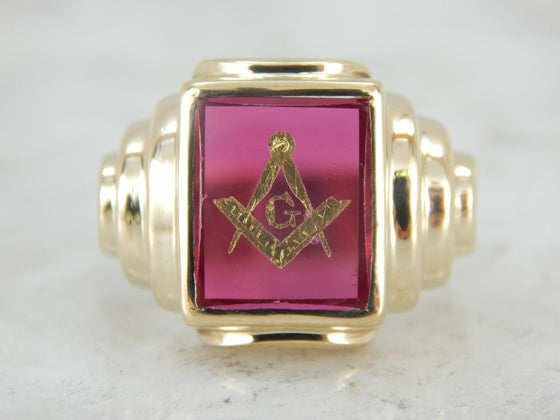 Masonic Signet Ring, Red Lodge Ring with Ruby Glass
