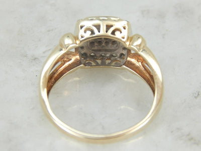 Square Top, Diamond Cocktail Ring set in Mosaic, Illusion Style
