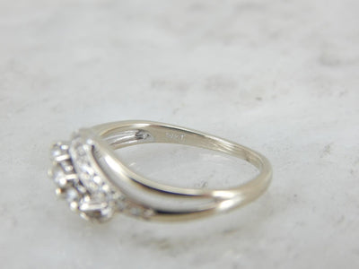 Scrolling Open Work Diamond Cocktail Ring with Bright Metal