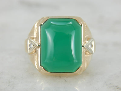 Vintage Green Onyx and Diamond Statement Ring for Him or Her