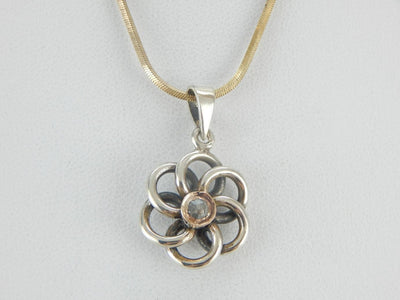 Open Work Flower Pendant with Rose Cut Diamond Center