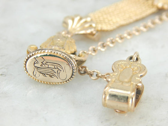 Antique Pocket Watch Chain with H Monogrammed Fob