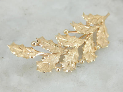 Gold Holly Leaf and Berries Pin, Perfect Christmas Gift