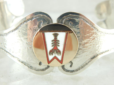 For the Lobstering Lady, a One of a Kind Cuff Bracelet in Gold and Silver