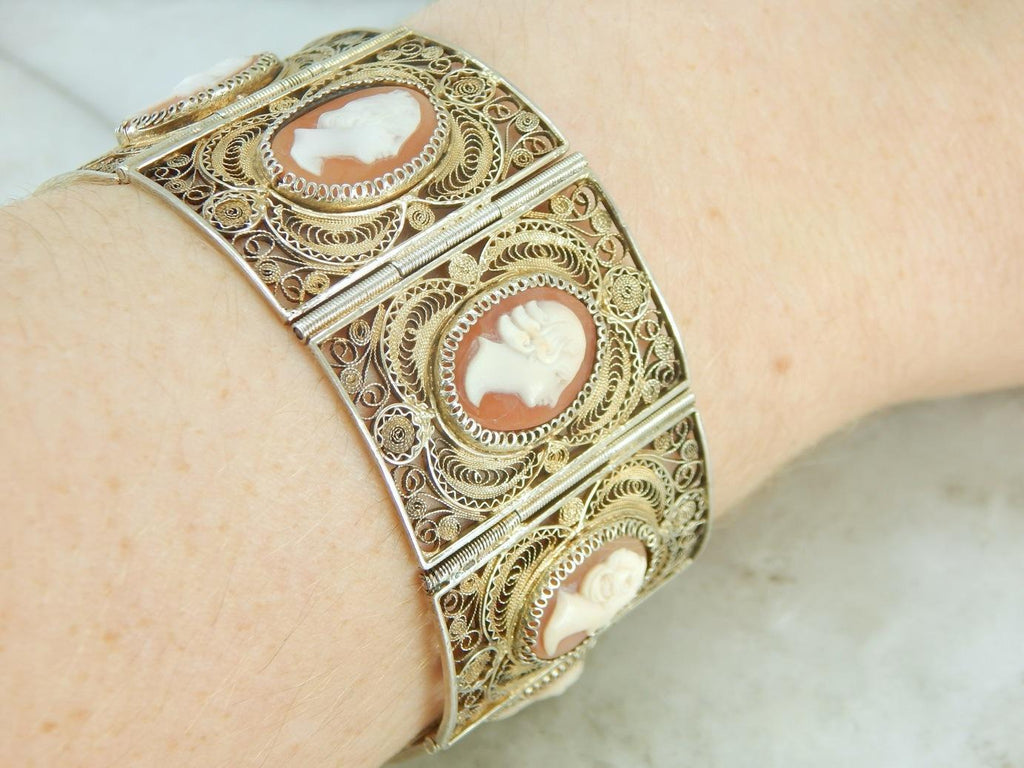 Gold Gilt on Quilled Silver Filigree, Fantastic Vintage Cameo Bracelet