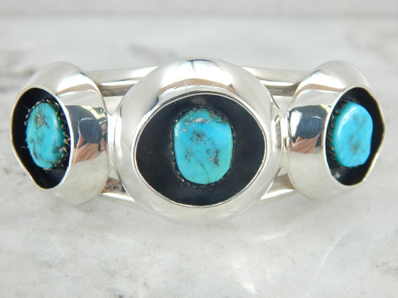 Bold and Modern, Turquoise and Sterling Silver Cuff Bracelet