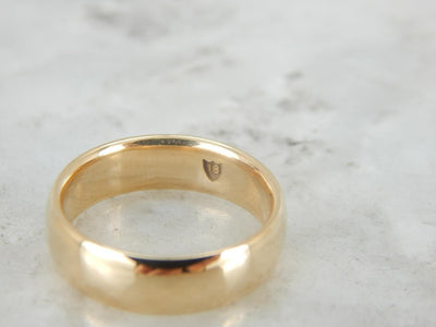 Traditional Yellow Gold Wedding Band, Weighty and Polished
