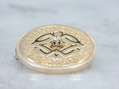 Gorgeous Victorian Brooch or Pendant with Diamond Center
