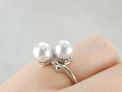 Bridal Pearl Bypass Ring with Sparkling Diamond Accents