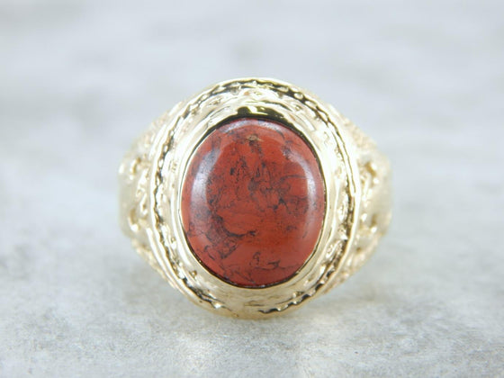 Vintage Gold Military Style Ring with Red Jasper Gem