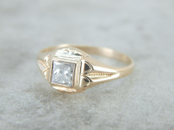 Vintage Retro Era Engagement Ring with Square Cut Diamond