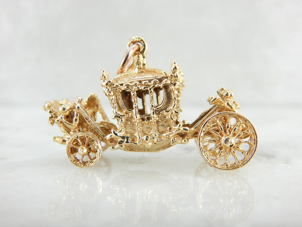 Fairy Tale Come True, Whimsical Gold Carriage Pendant