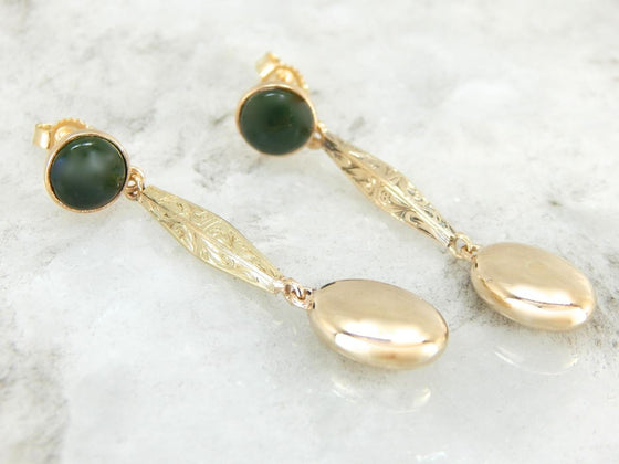 Jade Drop Earrings with Beautifully Etched Bars