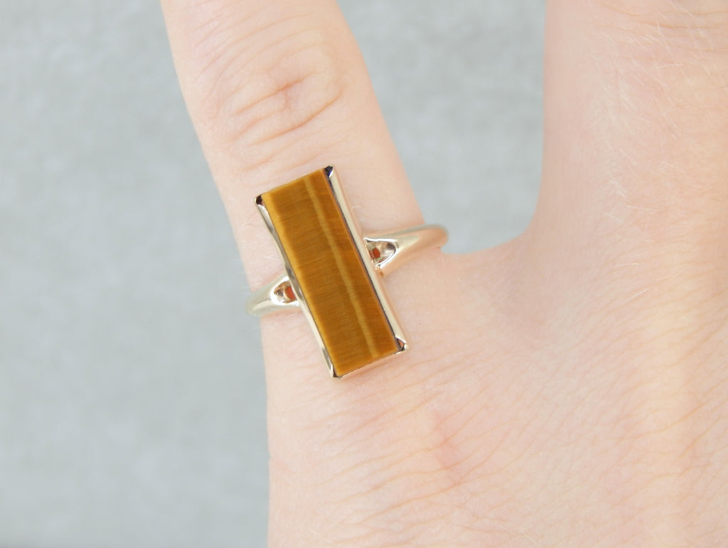 Elongated Tiger's Eye Cocktail Ring