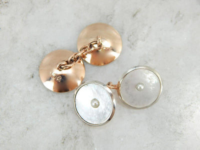 Rose Gold and Pearls, The Perfect Wedding Cufflinks, Accessories for the Bride or Groom