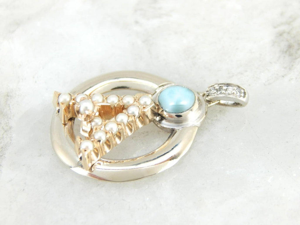 A is for Anything, Vintage Seed Pearl and Larimar Good Luck Charm